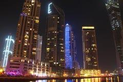Dubai Marina at night, United Arab Emirates. UAE, DUBAI, OCTOBER 20, 2011: Dubai Marina at night, United Arab Emirates, Persian Gulf, Arabian Peninsula, Middle royalty free stock images