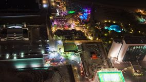 Dubai party nightlife club aerial view timelapse. Dubai Marina nightlife timelapse 4k stock video footage