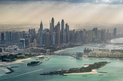 Dubai Marina and Palm Island, aerial view from helicopter Stock Photo
