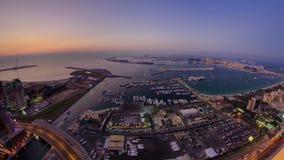 Dubai Marina Panorama Day to Night transition stock video footage