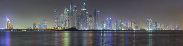 Dubai Marina panorama in late evening Royalty Free Stock Image