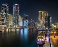 Dubai Marina. A Panorama of Dubai Marina by night Royalty Free Stock Photos