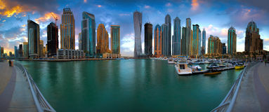 Dubai Marina Panorama Royalty Free Stock Photography