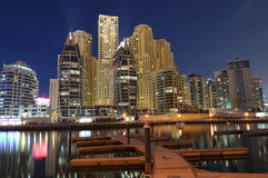 Dubai Marina Residence at night Royalty Free Stock Images
