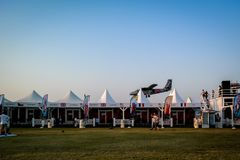 Dubai Marina SkyDive plane landing after dropping parachuters stock image
