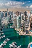 Dubai Marina skyline aerial view. Modern impressive city architecture with high rise buildings in Dubai Marina. Panoramic top view Stock Photos