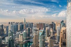 Dubai Marina skyline aerial view of skyscrapers stock image
