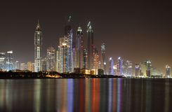 Dubai Marina skyline at night Stock Photography