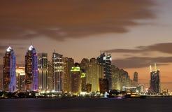 Dubai Marina skyline at night royalty free stock photography