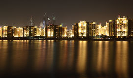 Dubai Marina skyline at night Stock Image