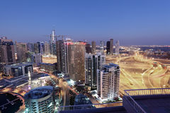 Dubai Marina skyline at night Stock Images