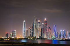 Dubai Marina skyline by night Royalty Free Stock Photo
