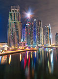 Dubai Marina Skyline by Night. With reflection on the water Royalty Free Stock Photo