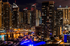 Dubai Marina Skyline at night. Scenic view of the skyline of Dubai city marina illuminated at night, United Arab Emirates Royalty Free Stock Image