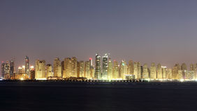 Dubai Marina skyline at night Stock Photos