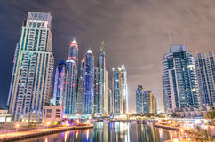 Dubai Marina skyline by night Stock Photo