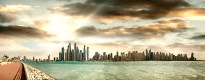 Dubai Marina skyline and Palm Jumeirah, UAE from the air Royalty Free Stock Photography