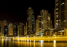 Dubai Marina skyline and skyscraper by night Royalty Free Stock Photo