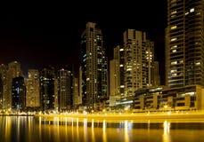Dubai Marina skyline and skyscraper by night royalty free stock photo
