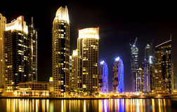 Dubai Marina skyline and skyscraper by night Royalty Free Stock Photography