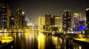 Dubai Marina skyline and skyscraper by night royalty free stock photography