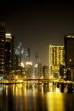 Dubai Marina skyline and skyscraper by night royalty free stock image