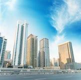 Dubai Marina skyline. Street view at dusk Royalty Free Stock Images