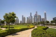 Dubai Marina Skyline. Skyline of Dubai Marina, with the tallest residential building in the world, Princess Tower Stock Photo