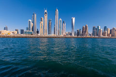 Dubai Marina skyline. Vie from the sea royalty free stock images