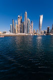 Dubai Marina skyline. Vie from the sea stock image