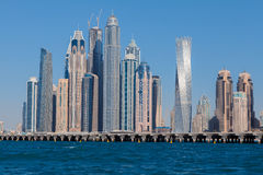 Dubai Marina skyline. View from the sea stock images