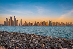Dubai Marina Skyline. View the spectacular skyline of Dubai Marina & Jumeirah Beach residence area Royalty Free Stock Photos