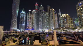 Dubai Marina with skyscrapers and boats in Dubai stock footage