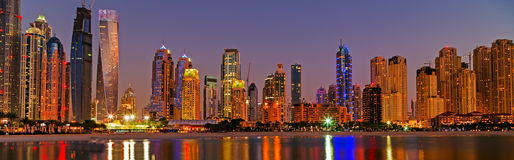 Dubai marina skyscrapers Dubai, UAE Royalty Free Stock Images