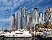 Dubai Marina with skyscrapers in Dubai, United Arab Emirates royalty free stock photography