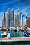 Dubai Marina with skyscrapers in Dubai, United Arab Emirates Royalty Free Stock Photography