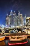 Dubai Marina with skyscrapers in the evening, Dubai, United Arab Emirates Royalty Free Stock Images