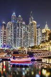Dubai Marina with skyscrapers in the evening, Dubai, United Arab Emirates Stock Image
