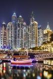 Dubai Marina with skyscrapers in the evening, Dubai, United Arab Emirates Stock Image