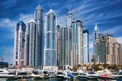 Dubai Marina with skyscrapers in the evening, Dubai, United Arab Emirates Stock Photos