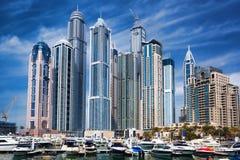 Dubai Marina with skyscrapers in the evening, Dubai, United Arab Emirates Stock Photos
