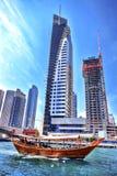 Dubai Marina with skyscrapers in the evening, Dubai, United Arab Emirates Stock Images