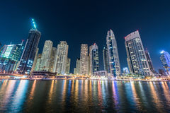 Dubai marina skyscrapers during Royalty Free Stock Image