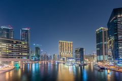 Dubai marina skyscrapers during Stock Images