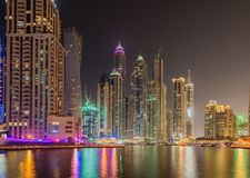 Dubai marina skyscrapers Royalty Free Stock Images