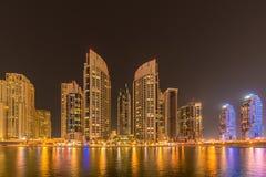 The dubai marina skyscrapers during night hours Stock Photo