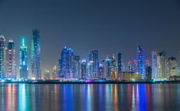 Dubai marina skyscrapers during night hours Royalty Free Stock Photography