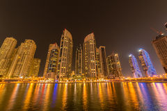 Dubai marina skyscrapers during night hours Royalty Free Stock Images
