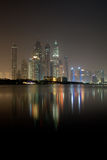 Dubai Marina Skyscrapers at night June 2012 Royalty Free Stock Images
