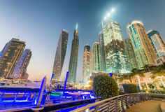 Dubai Marina skyscrapers reflections at night, UAE Stock Photos